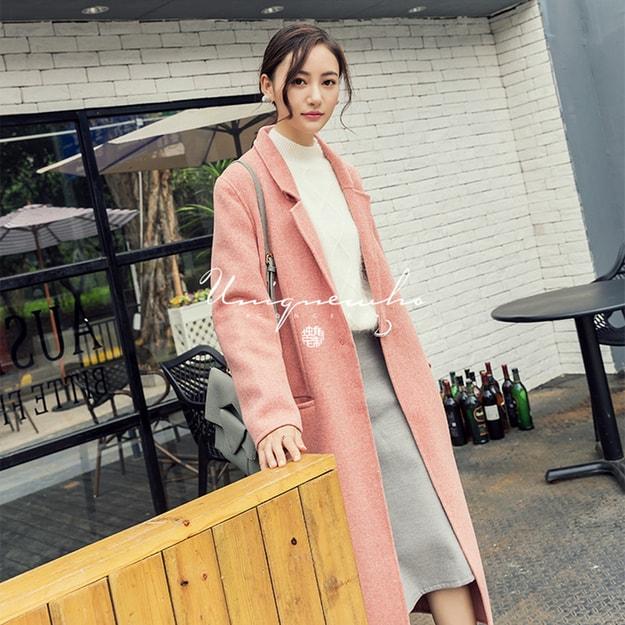 商品详情 - 独角定制 虾粉色纯羊毛双面呢大衣 XS - image  0