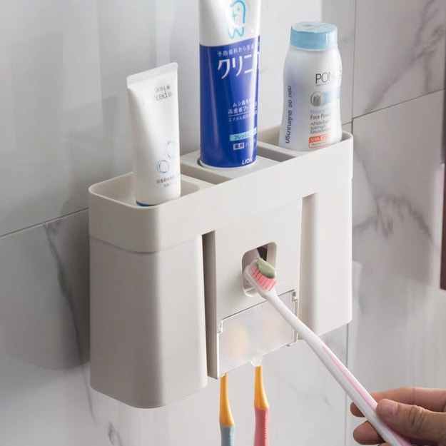 2021LIFE All-in-one automatic toothpaste dispenser and toothbrush holder sets - Cream White