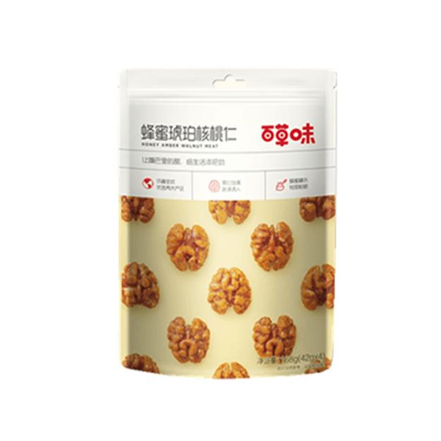 商品详情 - [中国直邮]百草味 BE&CHEERY 蜂蜜味琥珀核桃仁168g 网红坚果零食山核桃肉 蜂蜜味 1包装 - image  0