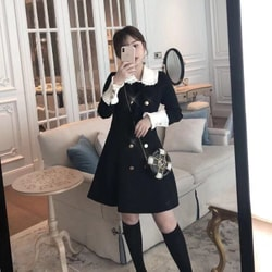 MOMO&MOLLY Temperament Pleated Doll collar Slim dress Black Xs-size