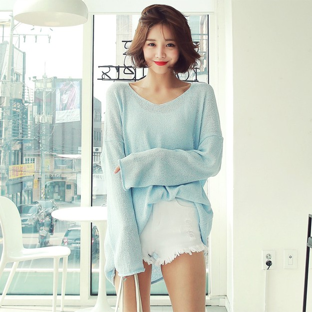 WINGS Oversized V-Neck Tunic Knit Top #Sky Blue One Size(Free)