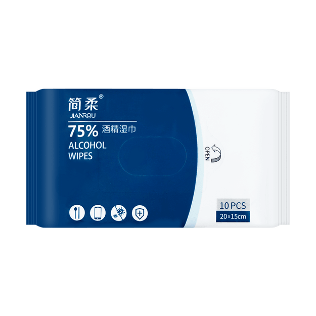 Product Detail - JIANROU 75% Alcohol Disposable Wet Wipes 10pcs/bag - image 0