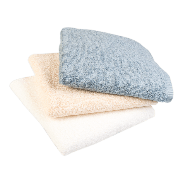 Product Detail - SONGWOL Premium Lightweight Absorbent 100% Cotton Hand and Face Towel 3 piece set (White Blue Ivory) 31.5x16 inches - image 0