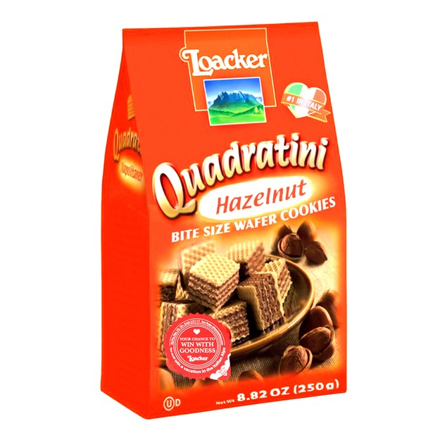 LOACKER Quadratini Bite Size Wafer Cookies Hazelnut Flavor 250g