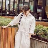独角定制 女士气质长款全棉衬衫连衣裙 粉色 L