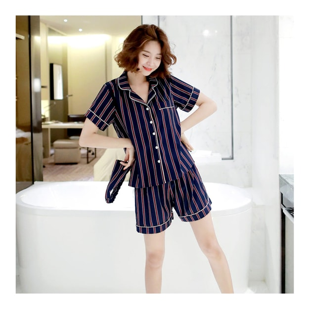 Product Detail - [KOREA] MAGZERO Stripe Pajamas Shirt+Shorts+Headband 3 Pieces #Navy One Size(S-M) [Free Shipping] - image 0