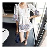 韩国正品 MAGZERO 民族印花方领喇叭袖气质衬衫 #白色 均码One Size(S-M) [免费配送]