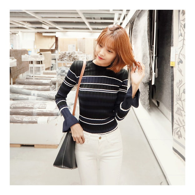 Product Detail - KOREA MAGZERO Ruffle Cuff Striped Knit Top Navy One Size(S-M) [Free Shipping] - image 0