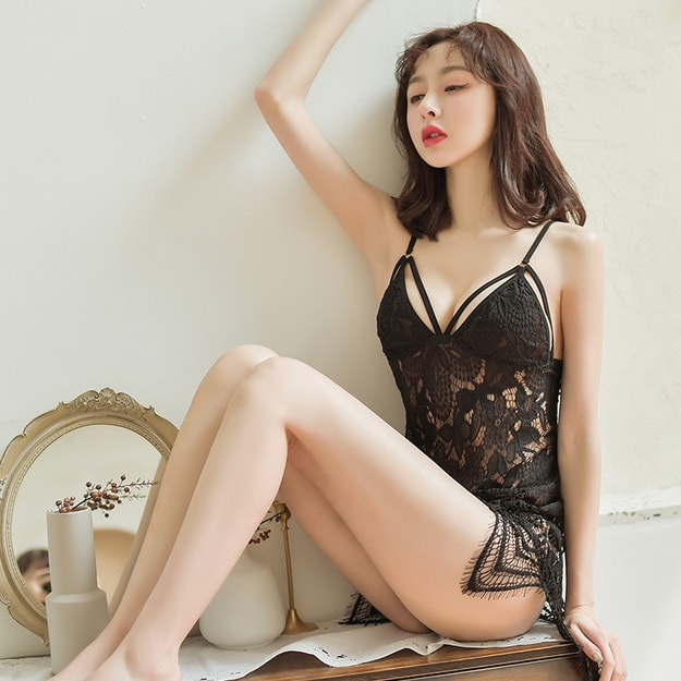Product Detail - FEE ET MOI Sexy suspender lace nightdress black - image 0