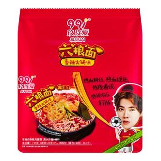 玖玖爱 六粮面非油炸方便面 香辣火锅味  5包入 730克 鹿晗代言