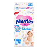 MERRIES Unisex Baby Pant Diaper Tape Type L Size 9-14kg 54pcs