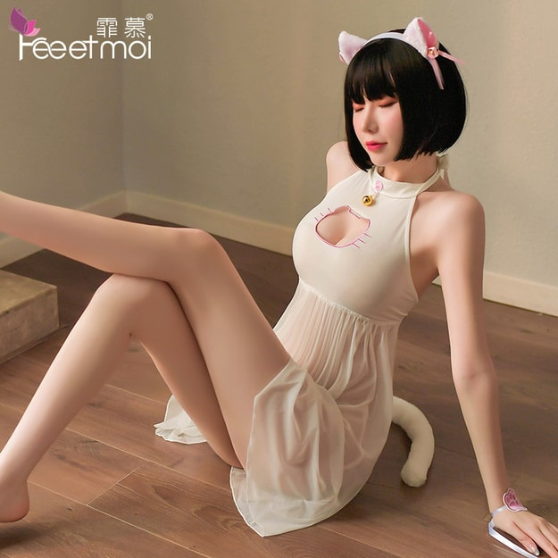 Product Detail - FEE ET MOI Japanese sexy cosplay cat transparent nightdress set white - image 0