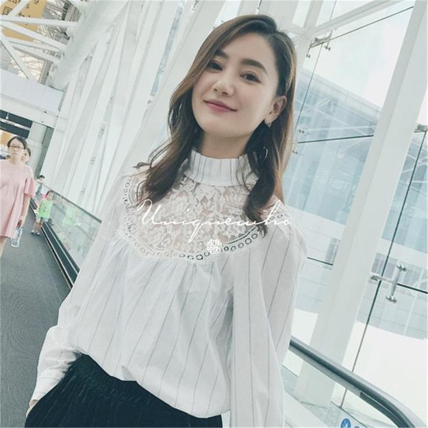 商品详情 - 独角定制 白色蕾丝拼接立领全棉条纹衬衫女 L - image  0