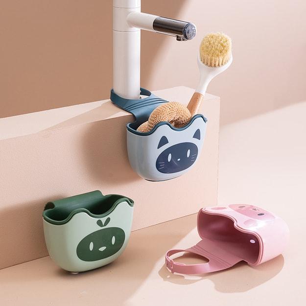 商品详情 - 中国直邮 厨房水槽沥水篮挂袋水龙头海绵置物架洗菜洗碗水池收纳挂篮 粉色 - image  0