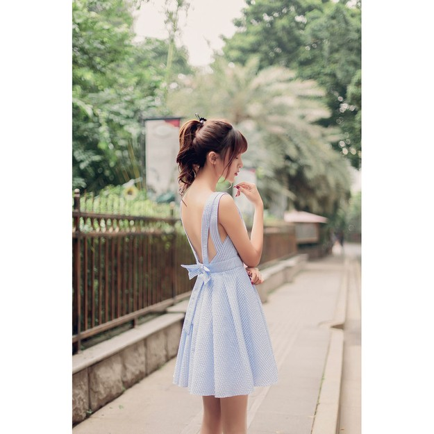 Product Detail - PRINSTORY 2018 Summer Stripe Backless Dress Blue/S - image 0