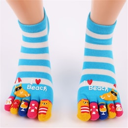 UNIQUEWHO Cute Funny Cartoon Toe Socks for Women Girls Soft Breathable Pure Cotton Socks for School Girl Sky Blue 1 Pair