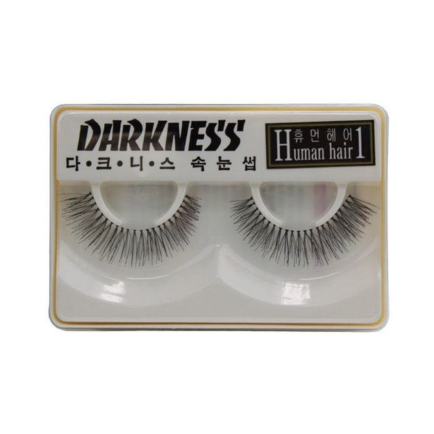 Product Detail - DARKNESS False Eyelashes Human Hair #1 1Pair  - image 0