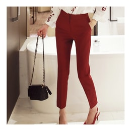 WINGS Mid-High Rise Slimming Ankle Pants #Wine L(29-30)