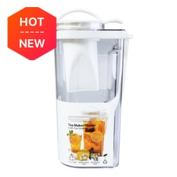 LUSTROWARE Space Saver Plastic Pitcher w/ Removable Strainer for Hot & Cold Beverages 2.17L  BPA Free