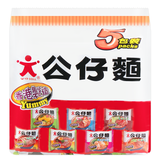 香港公仔 香辣猪骨浓汤味公仔面 5包入 500g