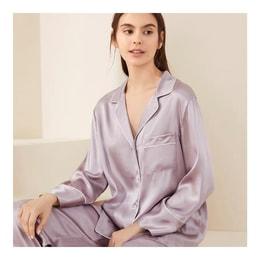 JINSANT Real Silk Pajamas Female Mulberry Silk Home Clothes Suit YSF8C209-2019#Soft Purple(heavy lb 19 m/m) XL
