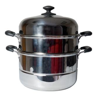 美国COOKMAX 家用不锈钢两层蒸锅 30cm NS-3081