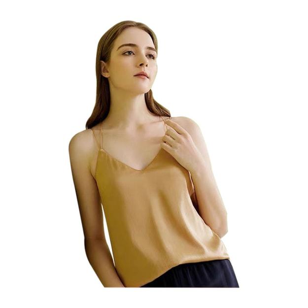 商品详情 - [中国直邮] JINSANT金三塔 桑蚕丝bra in带罩杯性感弹力纯色吊带衫女YSFAB722-566080#黑色 160(M)号 - image  0