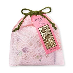 LUPICIA Cherry Blossom Season Red and Green 5 Taste Teabag Combination Pink Green Rope 2.5g*5
