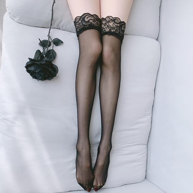 商品详情 - 中国直邮 瑰若 情趣女士内衣 宽蕾丝花边诱惑丝袜 可爱性感美腿长筒高筒袜 黑色均码一件 - image  0