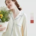 网易严选 与自然相拥 女式百草蕾丝撞色居家套装 朱殷-砖红*XL