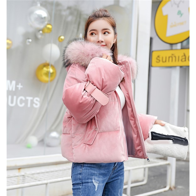 Product Detail - China direct mail JANE NA 2019 cute short thick cotton jacket loose jacket pink L code #1 piece - image 0