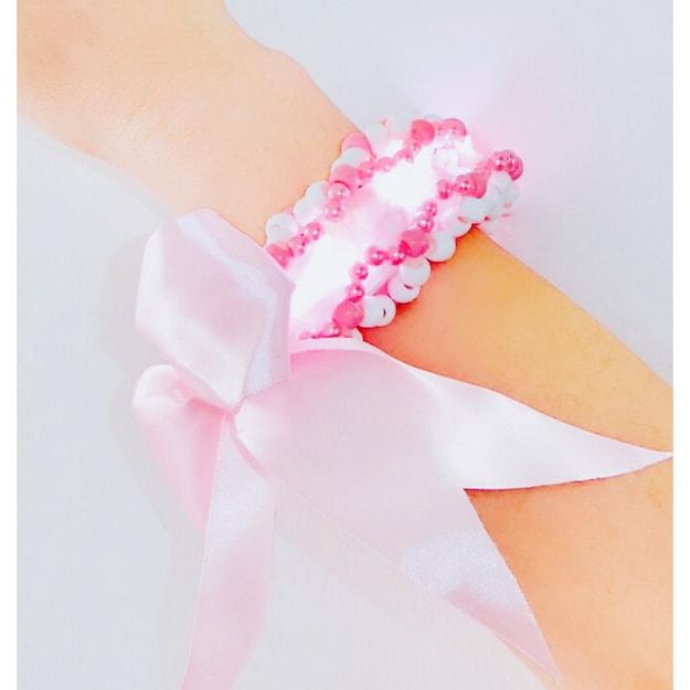 商品详情 - 娇娇 粉色 LED发光 3D丝带Cuff 福袋 - image  0