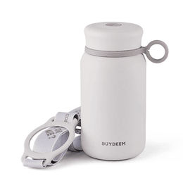 BUYDEEM Vacuum insulated stainless steel water bottle travel mug 300ml #pure white 1pc