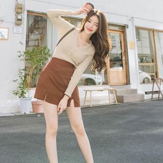 ATTRANGS V collar knit beige free