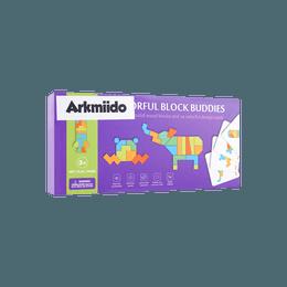 Arkmiido 儿童木制玩具 木制图案积木方块拼图 含教学卡 2岁以上适用 YL-8
