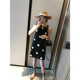 PRINSTORY 2019 Spring/Summer Polka Dot Strap Dress Black/S