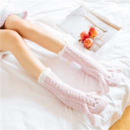 UNIQUEWHO Home Bed Floor Socks for Girls Women Cute Animal Rabbit Thicken Non-slip Socks Pink 1 Pair