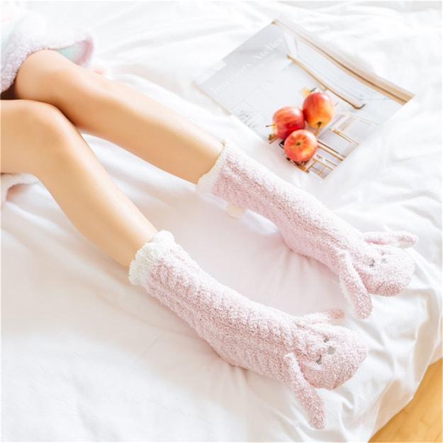 Product Detail - UNIQUEWHO Home Bed Floor Socks for Girls Women Cute Animal Rabbit Thicken Non-slip Socks Pink 1 Pair - image  0