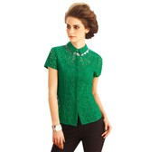 BIRRYSHOP round necklace  lace   short  sleeves top  green  M
