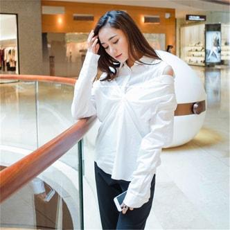 独角定制 白色全棉长袖性感衬衫女 M