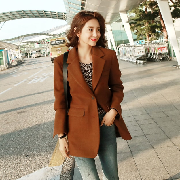 Product Detail - WINGS Oversized Single-Breasted Long Blazer #Camel Brown L(38-40) - image 0