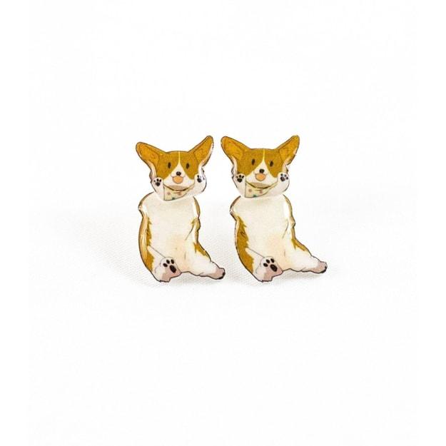 Product Detail - NAYOTHECORGI Cute Hanging Corgi Plastic Ear Studs #Multi Style# - image 0