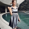 UNIQUEWHO Pure Cotton Blue & Black Stripe Round Neck Sleeveless Knee Length Dress for Women S