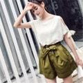独角定制 春夏新款 军绿色全棉高腰系带短裤女 XS