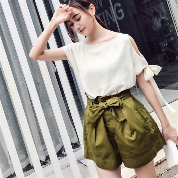商品详情 - 独角定制 春夏新款 军绿色全棉高腰系带短裤女 XS - image  0