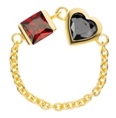 DE YEEN Bi Heart Ring #Red&Black 1pc