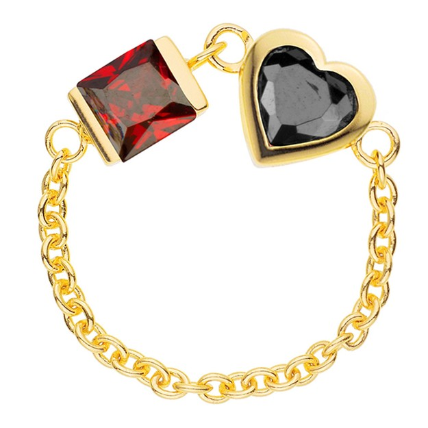 Product Detail - DE YEEN Bi Heart Ring #Red&Black 1pc - image 0