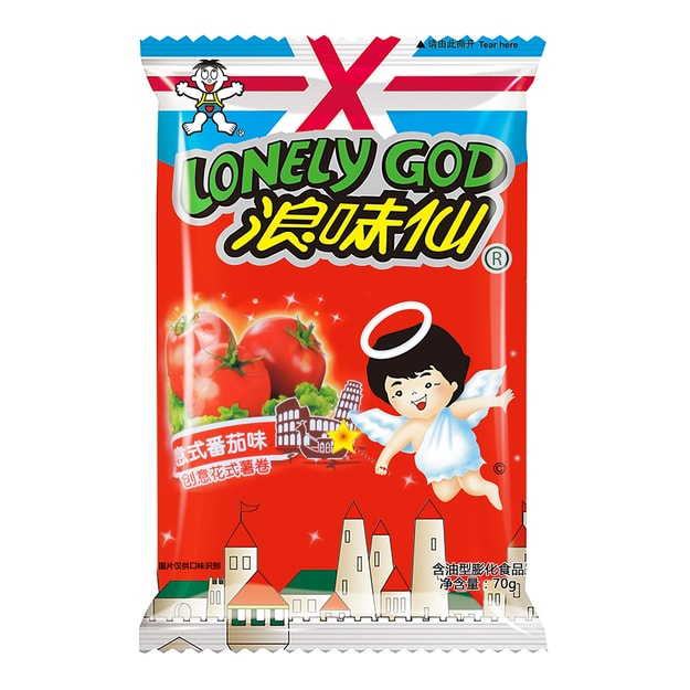WANT WANT LONELY GOD Tomato Flavor Potato Twists 70g Random Delivery