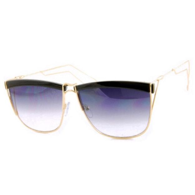 Product Detail - RETRO POP Fashion Sunglasses 5059 Gold&Black Frame/Grey Gradient Lens - image 0