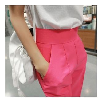 韩国MAGZERO [新品] 高腰百搭阔腿裤 #亮粉色 中号(M/26-27)